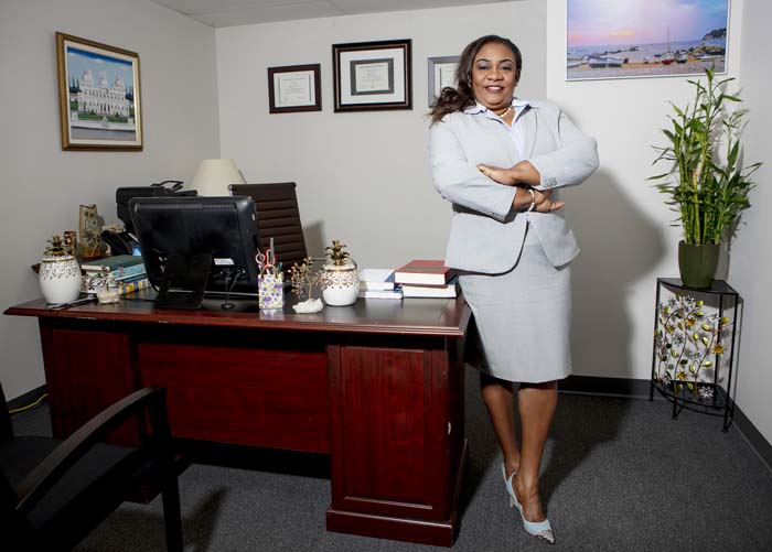 Photo of Majorie Alexis Nestor at her North Miami Office, photo by Johny Luc for Haiti Open Magazine