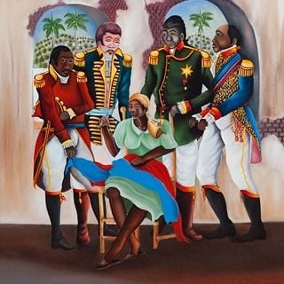 Catherine Flon stitching the Haitian Flag with the Founders of Haiti (illustration)