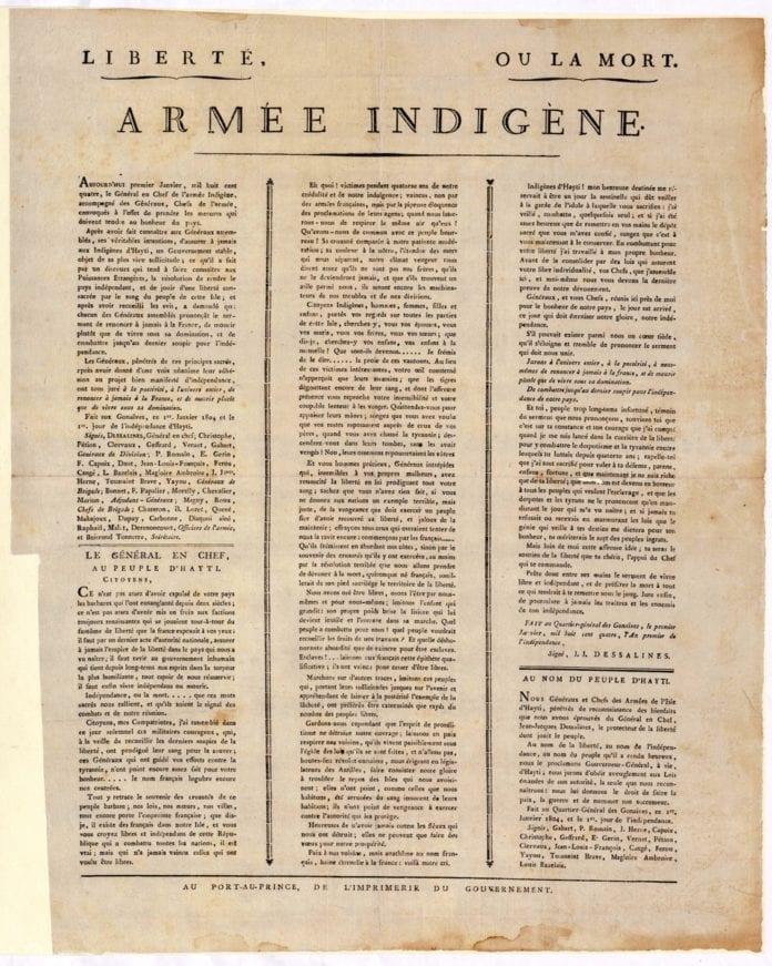 Deklarasyon Endepandans Ayiti. Haitian Declaration of Independence poster.