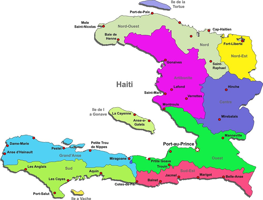Map of the Republic of Haiti in colorful clip art